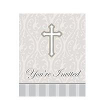Invitation Croix Grise en Papier Baptême et Communion