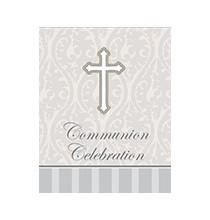 Invitation Croix Grise en Papier Communion Organisation