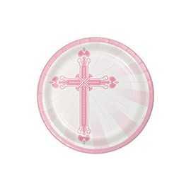 18 Assiettes Jetables Baptême Rose Clair et Croix