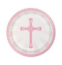 18 Petites Assiettes Jetables Baptême Rose Clair et Croix