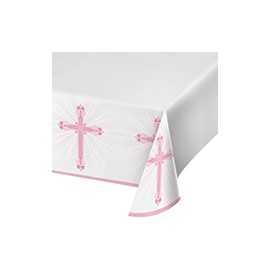 Nappe rectangulaire en plastique rose Baptême Communion Croix
