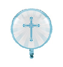Ballon Hélium Décoration Baptême Bleu Croix