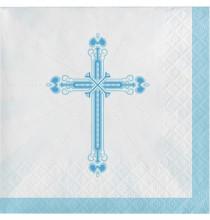 Serviettes Cocktail Bleu en Papier Croix Baptême et Communion Garçon