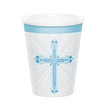 18 Verres Jetables bleu clair Baptême Communion Croix
