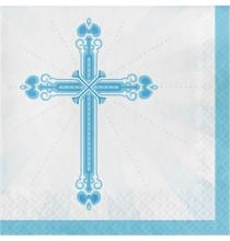 Grandes Serviettes Bleues en Papier Croix Baptême et Communion Garçon