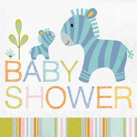 Serviettes en Papier Baby Shower Baby Animaux du Zoo Jungle