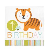 Serviettes en Papier Premier Anniversaire Baby Animaux du Zoo Jungle