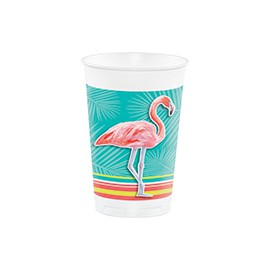 Grands Gobelets Plastique Thème Flamingo Party Flamant Rose