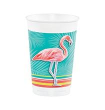 Grands Gobelets Plastique Thème Flamingo Party Flamant Rose