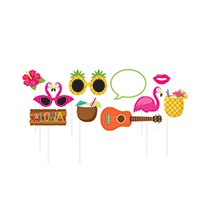 10 Accessoires Photobooth Flamingo & Tropiques Flamant Rose