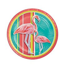 Grandes Assiettes Thème Flamingo Party Flamant Rose