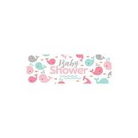 Banderole Géante Baby Shower Baleine Pastel et Mint