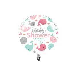 Ballon Alu Hélium Baby Shower Baleine Pastel et Mint
