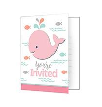 Carte d'Invitation Fête Baleine Pastel et Mint