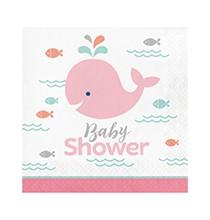 Grandes Serviettes Baby Shower Baleine Pastel et Mint