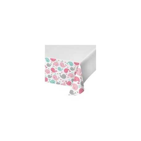 Nappe Plastique Baleine Rose Pastel et Mint