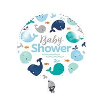 Ballon Alu Hélium Baby Shower Baleine Bleue Pastel et Mint