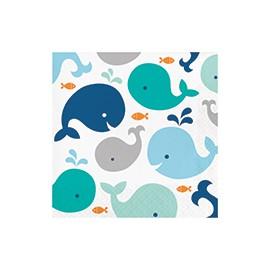 Grandes Serviettes en Papier Baleine Bleu Pastel et Mint