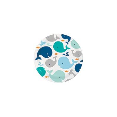 Grandes Assiettes en Papier Baleine Bleu Pastel et Mint