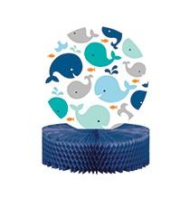 Grand Centre de Table Décoration Baleine Bleue Pastel et Mint