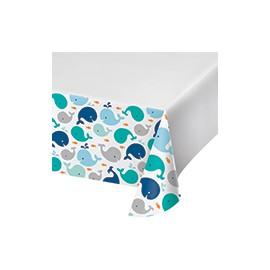 Nappe Plastique Baleine Bleu Pastel et Mint