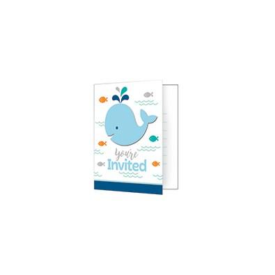 Carte d'Invitation Fête Baleine Pastel Bleu et Mint