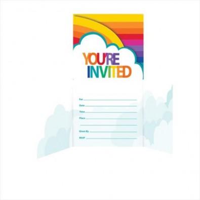 Invitation Rainbow et Nuage Fête à Thème Arc-en-ciel Anniversaire Fête