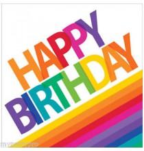 Serviettes Happy birthday Rayures Arc-en-ciel Collection Rainbow Party