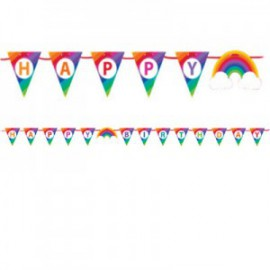 Banderole à Fanions Happy Birthday Arc-en-ciel et Nuages Collection Rainbow Party