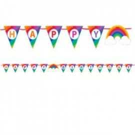 Banderole à Fanions Happy Birthday Arc-en-ciel et Nuages Collection Rainbow Party
