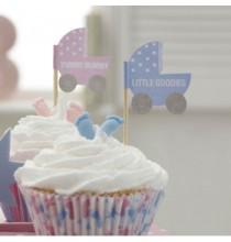 20 Piques Cup cake Baby Shower Bleu et Rose Poussette
