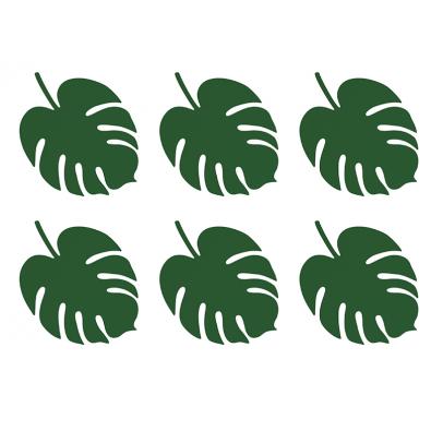 D coration feuilles exotiques vertes flamant tropiques anniversaire - Serviette en papier vert fonce ...