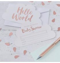 Invitation Nuages Baby Shower Hello World
