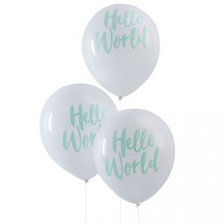 10 Ballons latex blanc mint Hello World Baby Shower