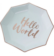Grandes Assiettes Mint et Rose Cuivré Baby Shower Hello World