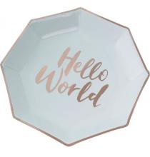 Grandes Assiettes Mint et Rose Cuivré Baby Shower Hello World