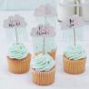 10 Piques Cup Cake Nuages et Pluie Mint Rose Cuivré Baby Shower Hello World