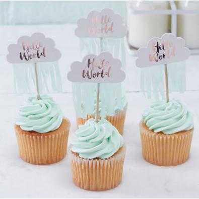D coration piques cup cake nuage rose cuivr gouttes d 39 eau for Baby shower deko boy