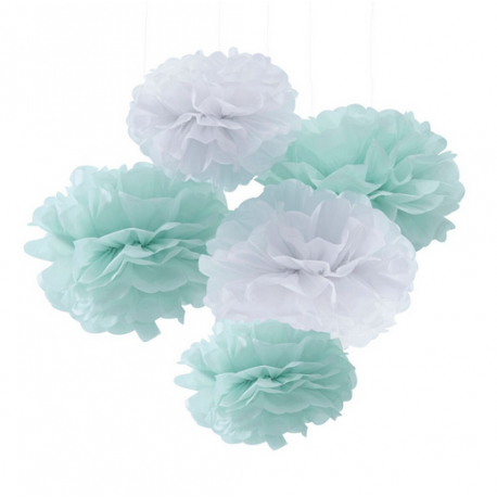 5 grands pompons de soie blanc mint Hello World Baby Shower