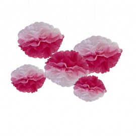 5 Grandes Pompons Rose Dégradé Papier de Soie Rose Décoration de Fête