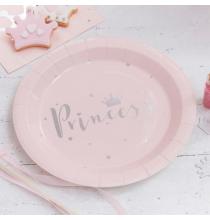 Grandes Assiettes Princesse Diadème Rose et Argent