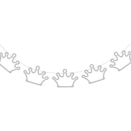 Banderole à Fanions Diadème Glittler de Princesse Argent