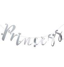 Banderole Princess à Fanions Lettres - Décoration Princesse Argent