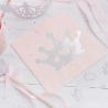 Grandes Serviettes Premium Princesse Diadème Rose et Argent