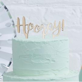 """Pique en Bois """"Hooray"""" Décor pour Gâteau"""