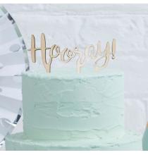 """Pique en Bois """"Hooray"""" Décors pour Gâteau"""