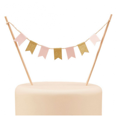 Piques Guirlande à Gâteau Rose Pastel et Glitter Doré Buffet de Fête