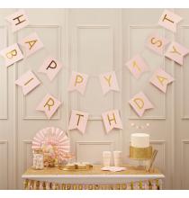 Guirlande à Fanions Happy 1st Birthday - Premier Anniversaire Rose Pastel et Doré