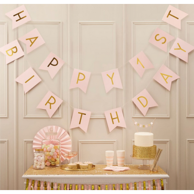 d coration premier anniversaire rose pastel happy 1st birthday. Black Bedroom Furniture Sets. Home Design Ideas