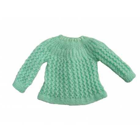 Brassière verte en laine fait main pour bébé